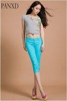 Брюки-карандаш карамельного цвета для женщин джинсы женские облегающие брюки повседневные Капри Повседневное хлопок короткий Брюки для де...