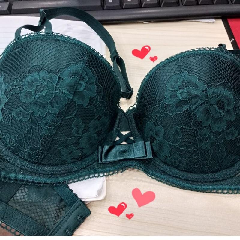 Sexy Mousse lace sexy 1/2 half cup plus size bra Set Women temptation Lingerie underwear push-up Plunge bra thong panty