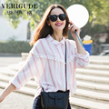 Veri Gude Women's Boxy Style Loose Blouse for Summer Plus Size Striped Shirts