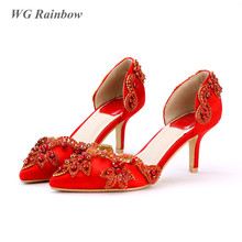 Sexy Women Pumps Pointed Toe High Heels Bridal Shoes Red Silk Rhinestones Wedding Shoes Woman Vintage Party Dress Shoes