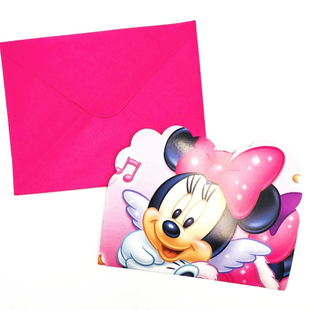 6pcs Pink Minnie Mouse Birthday Party Invitations Ideas Minnie Mouse