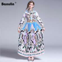 Banulin Runway Elegant Spring Autumn Maxi Long Dress Womens Charming Floral Print Party Vintage Pleated Floor Length