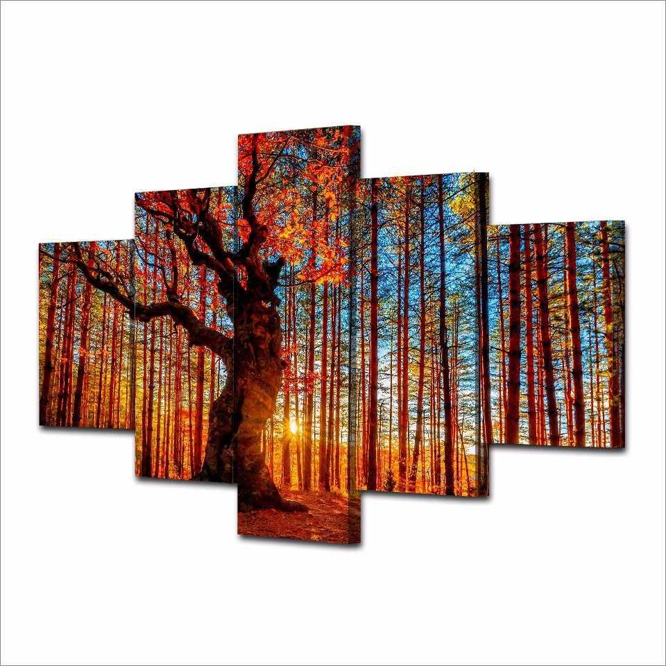 Do salonu nowoczesne HD drukowane zdjęcia 5 sztuka/szt jesień las drzewa Wall ozdoby do dekoracji wnętrz ramki na płótnie malarstwo plakaty