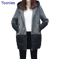 Winter New Fashion Woolen Coats Long Cashmere Wool Jacket Hooded Coats Stitching Casual Loose Thickening Outwear