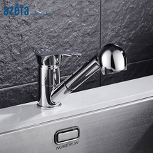 цены Azeta Free Shipping Kitchen Faucet Pull Out 360 Degree Swivel Spout Chrome Brass Kitchen Sink Tap Torneira Para Cozinha MK6508