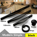 96mm 128mm 160mm Modern simple black furniture handles retro black kitchen cabinet drawer handles pulls knobs drop rings knobs