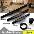 96mm 128mm 160mm Moderno simple negro retro negro del gabinete de cocina muebles manijas manijas del cajón pulls perillas de la gota anillos de perillas