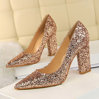 2018 Fashion Women Luxury Wedding Dress 9cm High Heels Female Sexy Glitter Sparkly Ivory Pumps Lady Sequins Blue Chunky Shoes