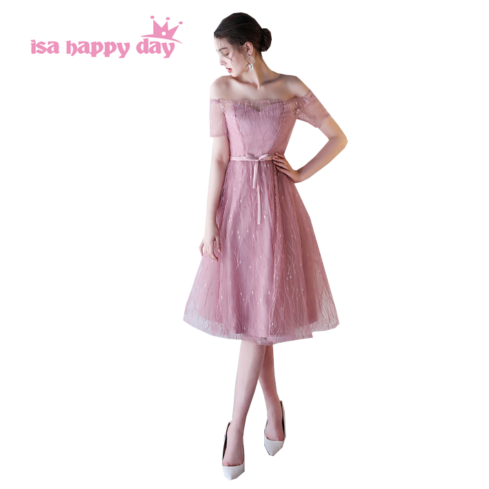 blush formal 8th grade home coming fitted graduation tea length sweet 16 invitations special occasion dresses under $100 H4063