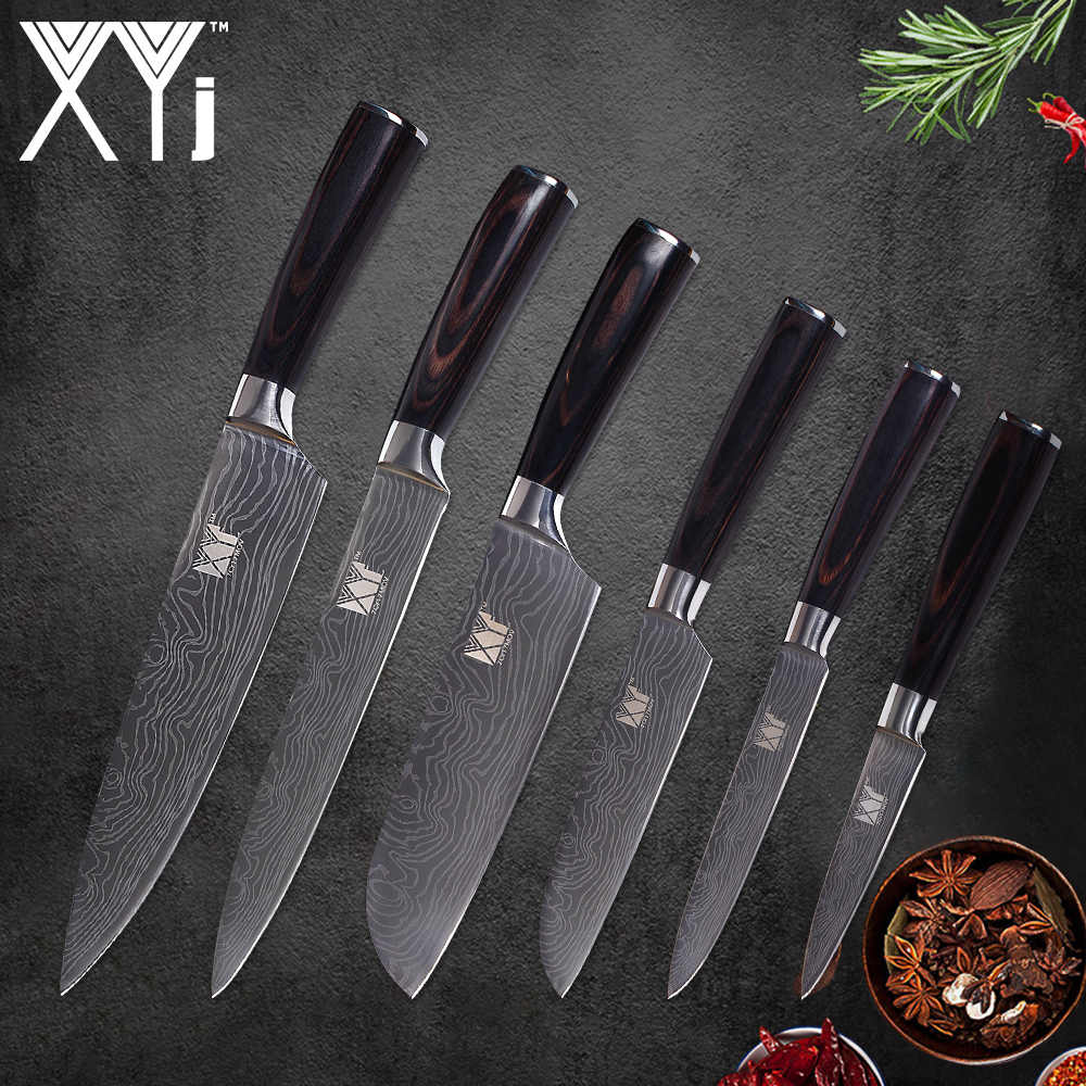 XYj 6 Piece Stainless Steel Knife Set High Carbon 7cr17 Sharp Blade Color Wood Handle Knife Fish Meat Fruit Kitchen Accessories