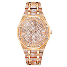 цена на High-End Men and Women With The Same Full Rhinestone Large Dial Watch With Diamond Stainless Steel Strap Tide Table Watch