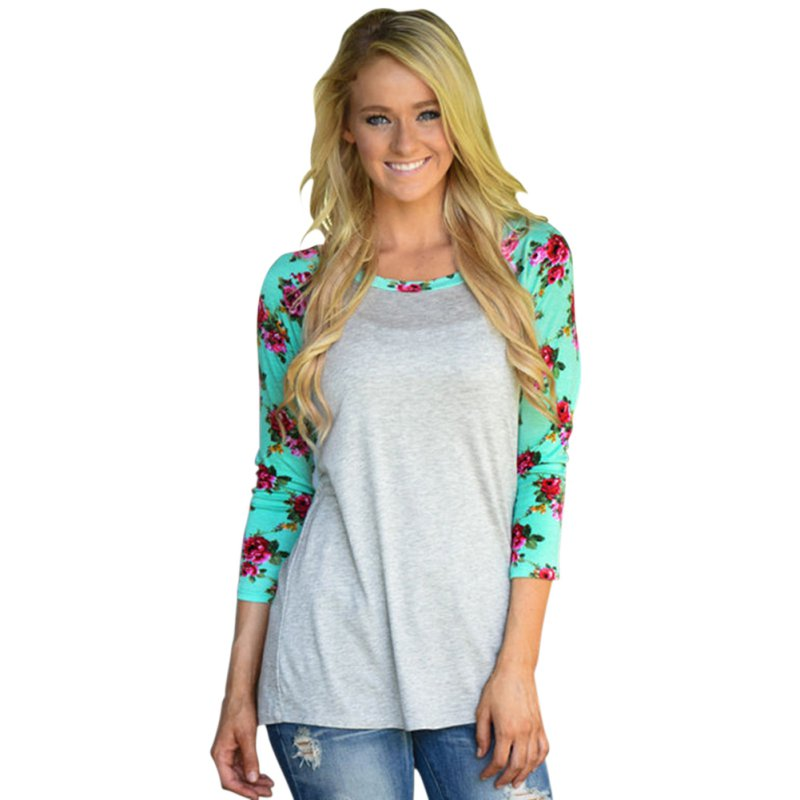 Women Floral 3/4 Sleeve Crew Neck T-Shirt Ladies Casual Loose Tops