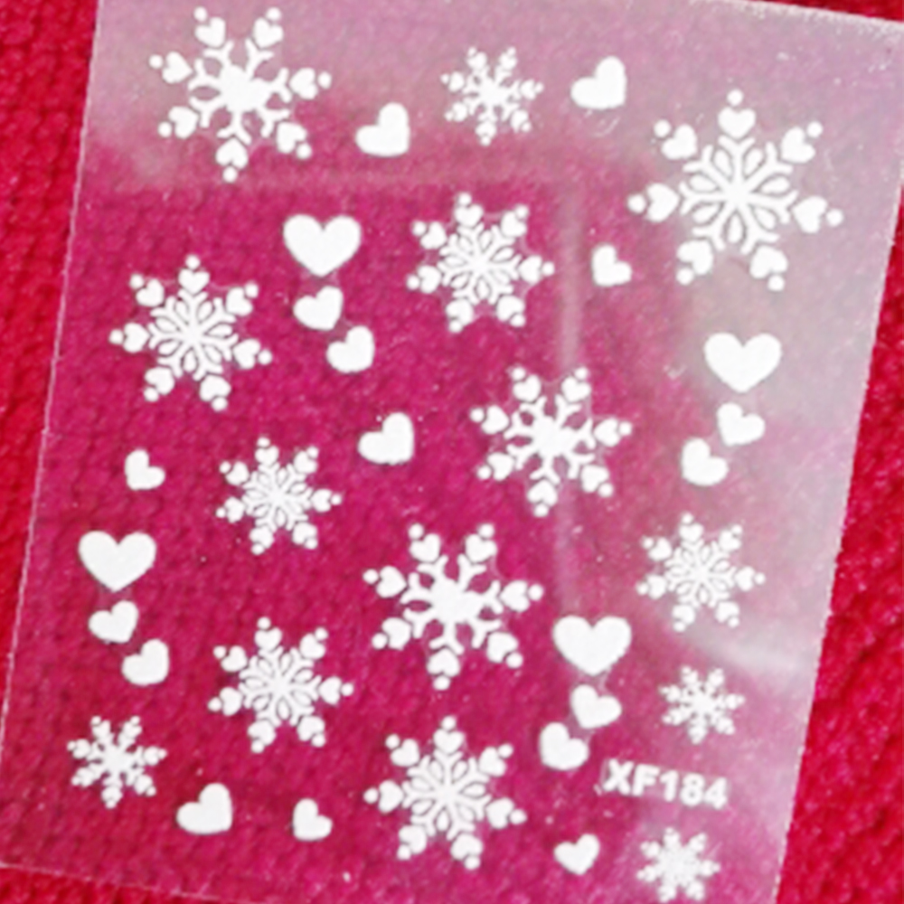 1 sheets Fashion 3D White Snowflake Nail Art Water Transfer Stickers Manicure Decal Wrap DIY Nail Art Decoration SAXF184 1 sheet beautiful nail water transfer stickers flower art decal decoration manicure tip design diy nail art accessories xf1408