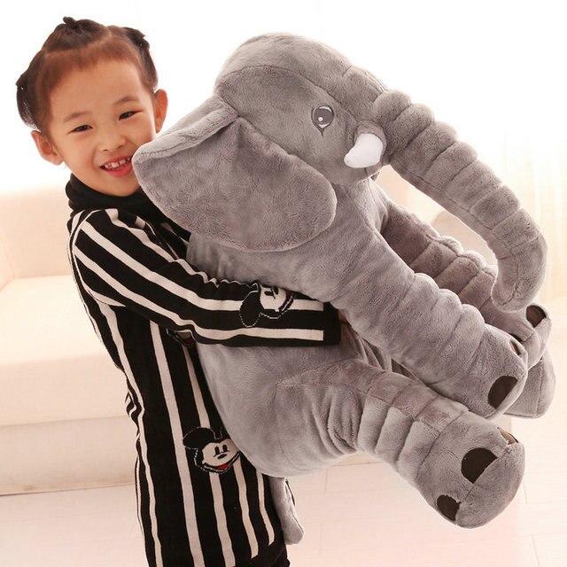 40/60 cm Dos Desenhos Animados Elefante de Pelúcia Brinquedo Crianças Dormindo Almofada de Volta Travesseiro recheado Elefante Boneca Boneca de Presente de Aniversário Do Bebê para As Crianças