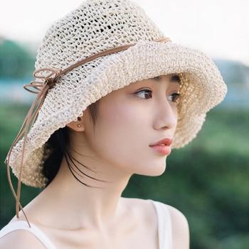 Summer Raffia Handmade crochet soft fold Straw sun hat for women girls