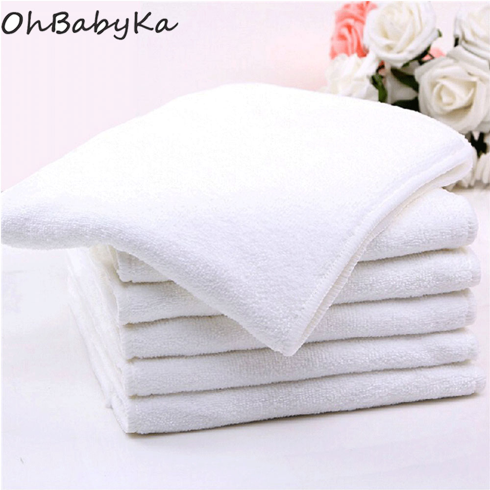 Ohbabyka Reusable Adult Cloth Diaper Microfiber Inserts 4 Layer Nappies Liner Absorbent Nappies For Adult Diaper 5pcs/lot