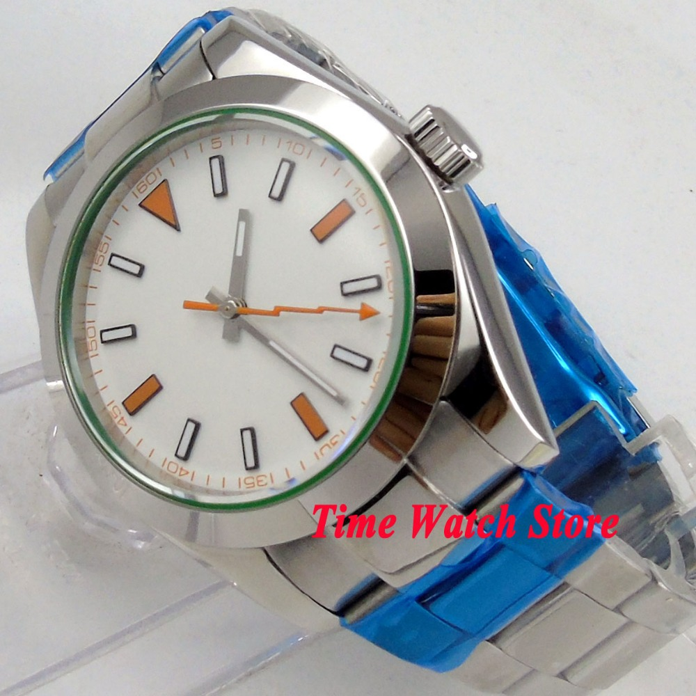Parnis watch 40mm no log white dial sapphire glass orange lighting second hand Automatic movement Mens watch 11Parnis watch 40mm no log white dial sapphire glass orange lighting second hand Automatic movement Mens watch 11