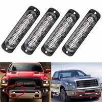 4Pcs Led Car Strobe Side Lights 6 LED Amber Car Caution Lights Beacon Lights 6T Ultra-thin Car-Styling