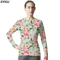 Flower Shirt Women Long Sleeve Womens Brand Clothing Sexy Man Fashion T Shirt Spring Hawaiian Lycra