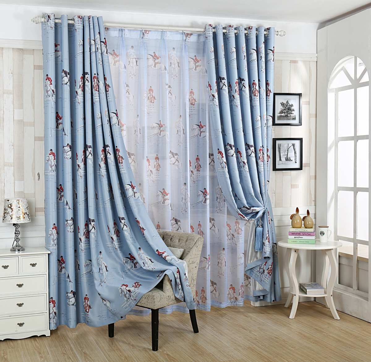 China Blue Curtains Us 12 99 The British Style Shade Cloth Curtain Cartoon Knight Curtains Horse Curtains Blue Curtains For Childrens Bedroom Living Room In Curtains