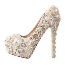 Pearl Diamond White Bridal Wedding Shoes Red Platform Super High Heels Woman Elegant Free Shipping стоимость