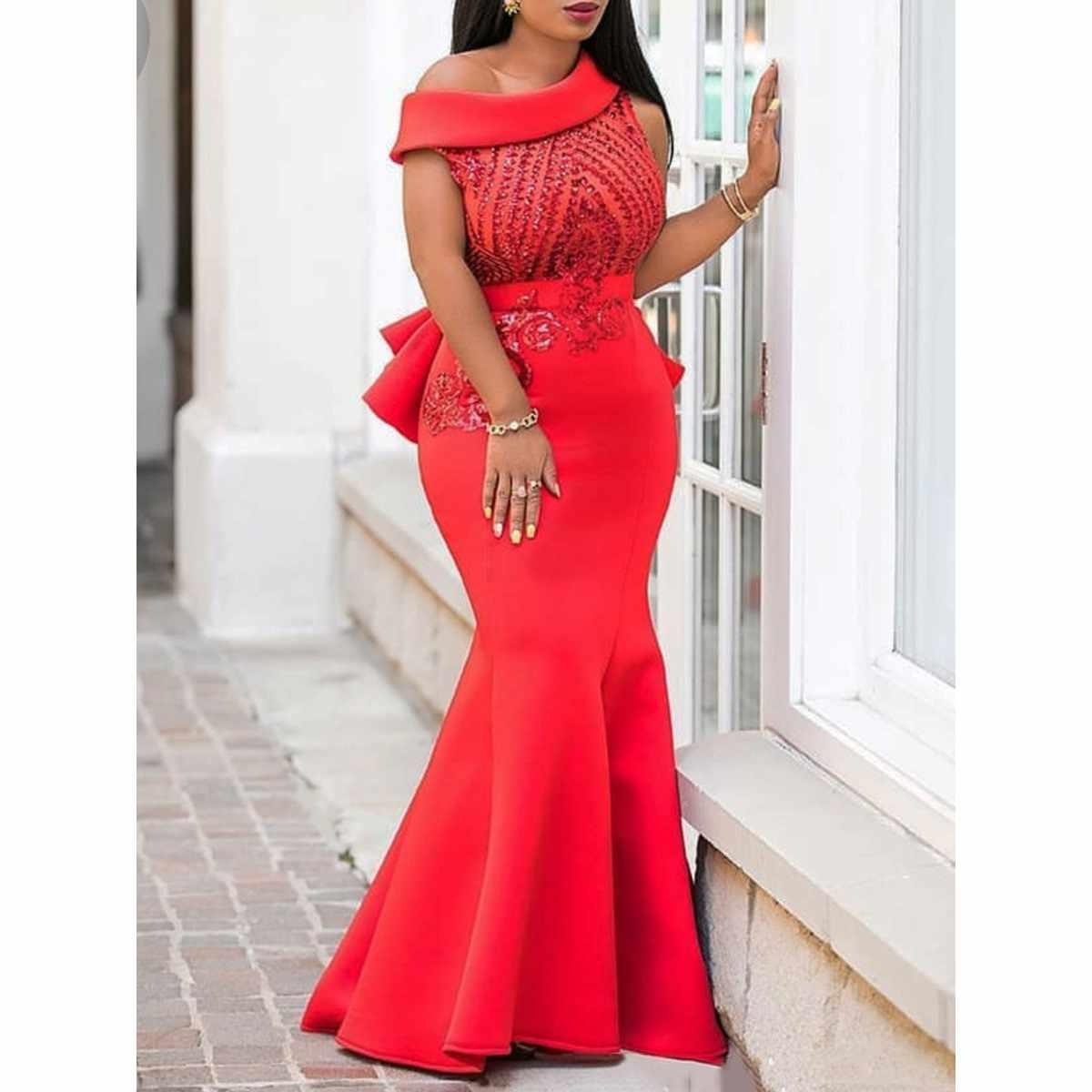 Блестки Bodycon Труба вечерние платья женские элегантные тонкие оборки рождественские дамские вечерние Красные сексуальные макси платья