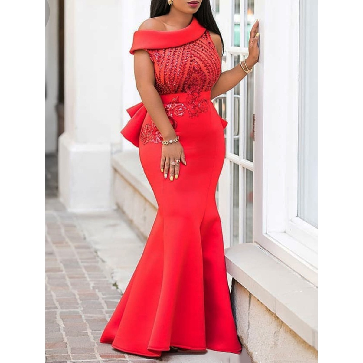 Sequins Bodycon Trumpet Party Dress Women Elegant Slim Ruffle Christmas Ladies Prom Evening Formal Dinner Red Sexy Maxi Dresses