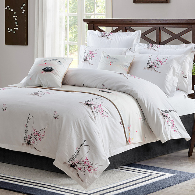 Plum Blossom Hotel Style Bedding Sets 4pc Duvet Cover Flat Sheet Pillowcase Queen King