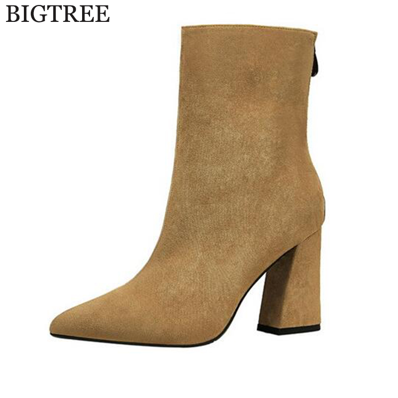 new Women Boots Flock Ankle Boots Round Toe Winter Women Boots Ladies Party Western high heels platform shoes botas mujer k581 new arrival 34 40 2016 winter ankle boots for women med heels round toe platform solid casual ladies unique boots