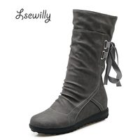 Women Winter Snow Boots Mid Calf Solid Flats Winter PU Boots Women Warm Plush Boots Ladies