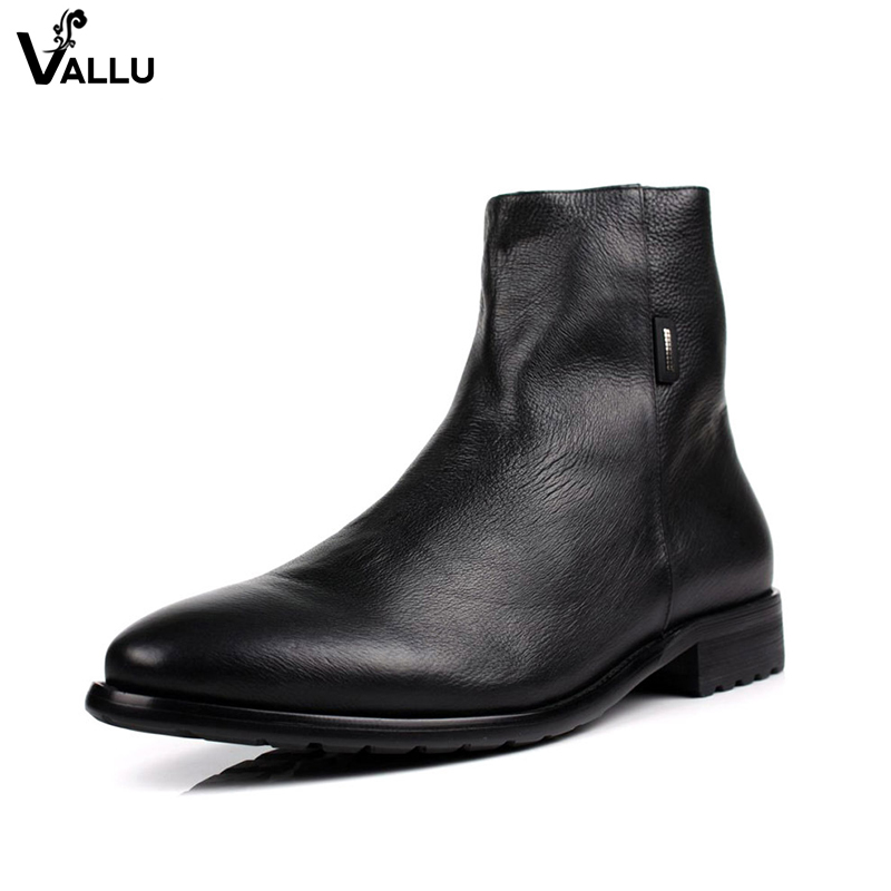 Cow Leather High Heel Boots For Men 2018 New Arrival Fashion European Style Business Male Booties British Mans Footwear Shoes british england style stylish men boots natural leather round toe chunky heel male ankle booties comfortable new mans shoes