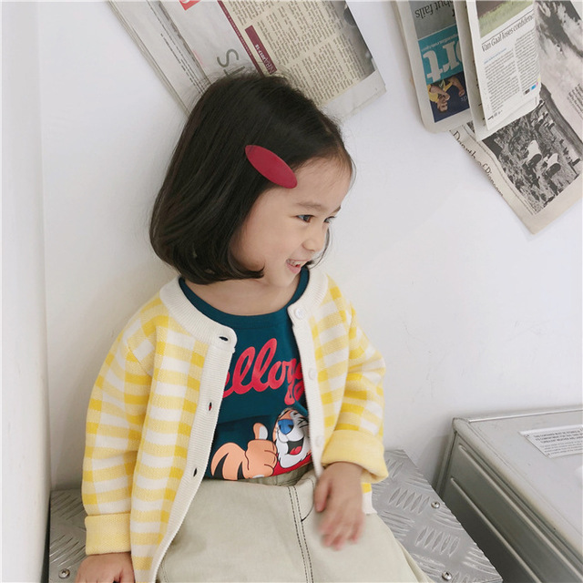 Autumn winter England style boys girls fashion plaid sweater cardigan children cotton casual sweaters coats kids clothes