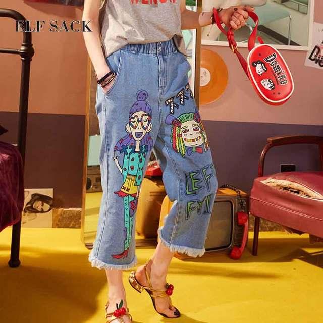magasin super service gros en ligne € 44.85 |ELF SAC Jeans Femmes Streetwear Graffiti Imprimé Jeans Pantalon  Casual Taille Haute Pantalon Femelle Denim Pantalons Casual Harem Pantalon  ...