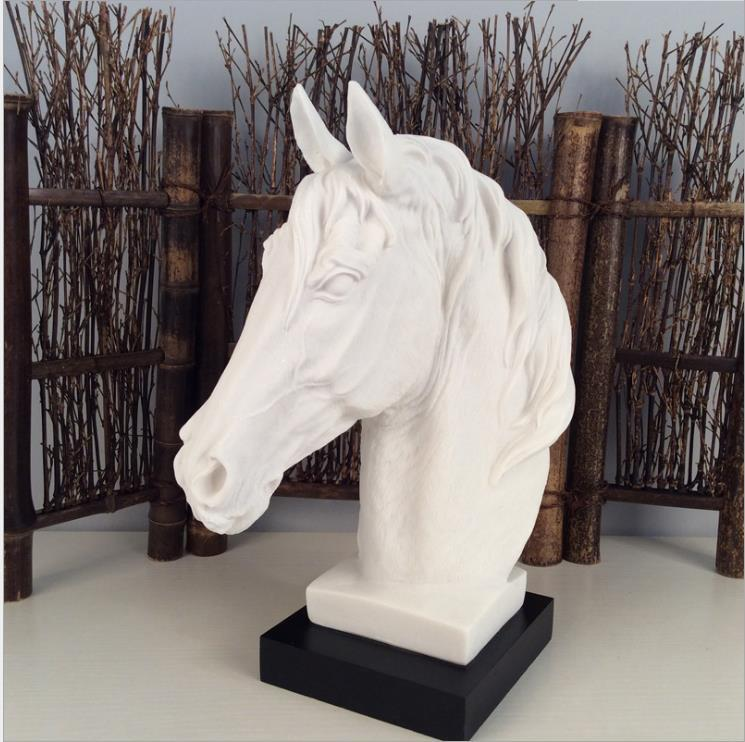 Modern Abstract Horse Head Sculpture Animal Resin Statue Home Decoration Accessories Geometric Resin Ornaments Horse Riding