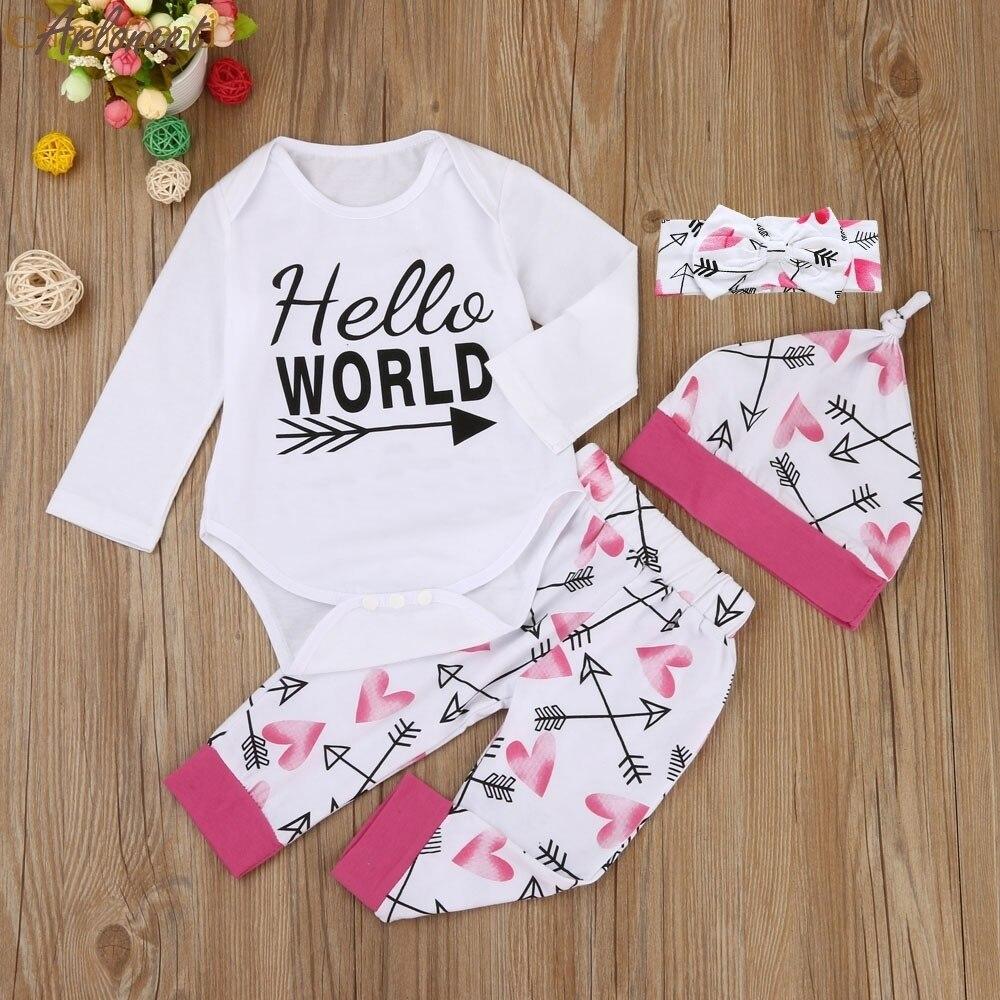 ARLONEET Christmas Pajamas Dress For Baby Girls Newborn Baby Girls Outfit Clothes Romper Jumpsuit Bodysuit Pants Hat Headband &