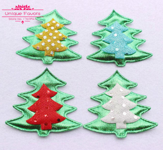 50pcs Kawaii Glitter Fabric Christmas Tree Appliqued Patches ...