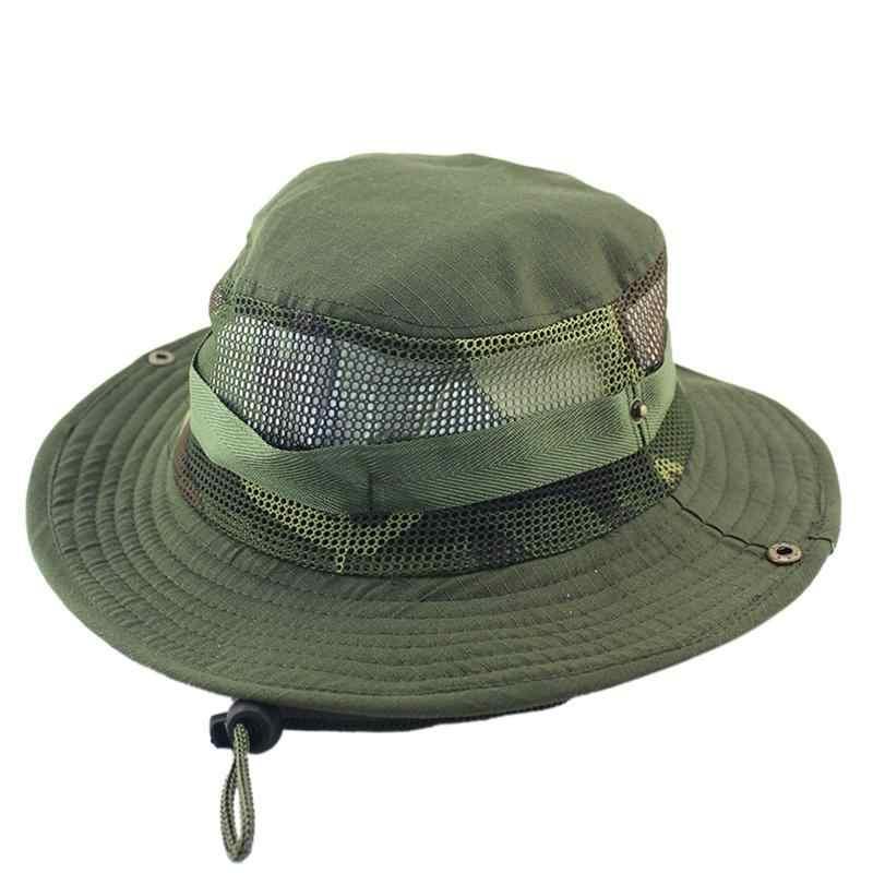 ... Camouflage Bucket Hat With String Summer Men Women Fisherman Cap Military  Sun Hats Cap Round Rim ... df12f5b8ee6