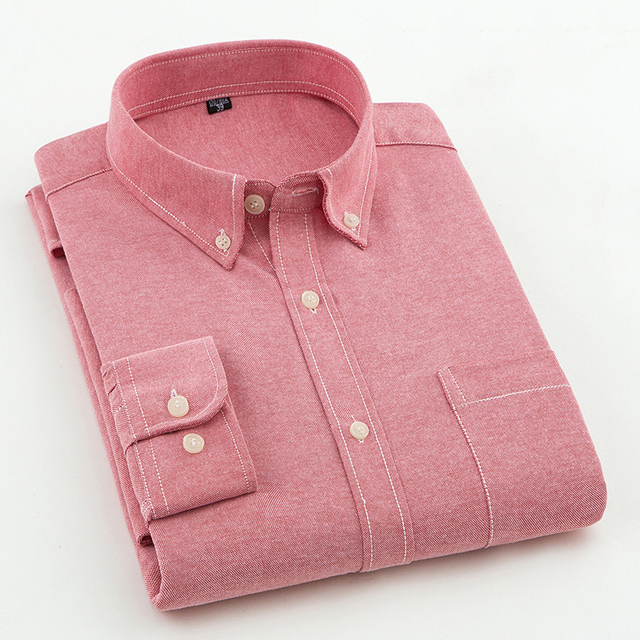 Brand Men Shirt Long Sleeve 2018 Spring New Solid White Casual Shirt Men Oxford Dress Shirt Youth Plus Size Male Shirt Clothing 1