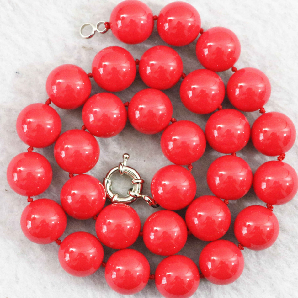 New fashion red artificial coral stone 8mm 10mm 12mm 14mm round beads necklace women jewelry wholesale price 18inch B1013