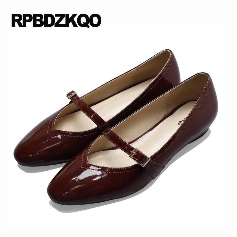 Celebrity Size 34 Patent Leather Genuine Flats Vintage 2017 Women Round Toe Mary Jane Female Beautiful Ladies Shoes Slip On Red