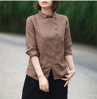 New Women Turn Down Collar Long Sleeve Loose Blouse Cotton Linen Vintage Solid Breif Shirt Blusas