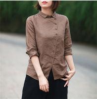 New Women Turn Down Collar Long Sleeve Loose Blouse Cotton Linen Vintage Solid Breif Shirt Blusas