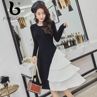 FINEWORDS Cake Irregular Knitted Dress Women Slim Casual Autumn Dress Winter Long Sleeve Party Black Sweater Dresses Vestidos