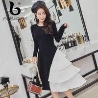 FINEWORDS Cake Irregular Knitted Dress Women Slim Casual Autumn Dress Winter Long Sleeve Party Black Sweater Dresses Vestidos
