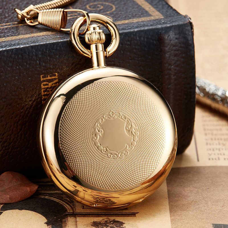 Luxury Copper Golden Mechanical Pocket Watch Hand Winding Clock Fob Chain Watch Men Roman Numbers Skeleton Clock