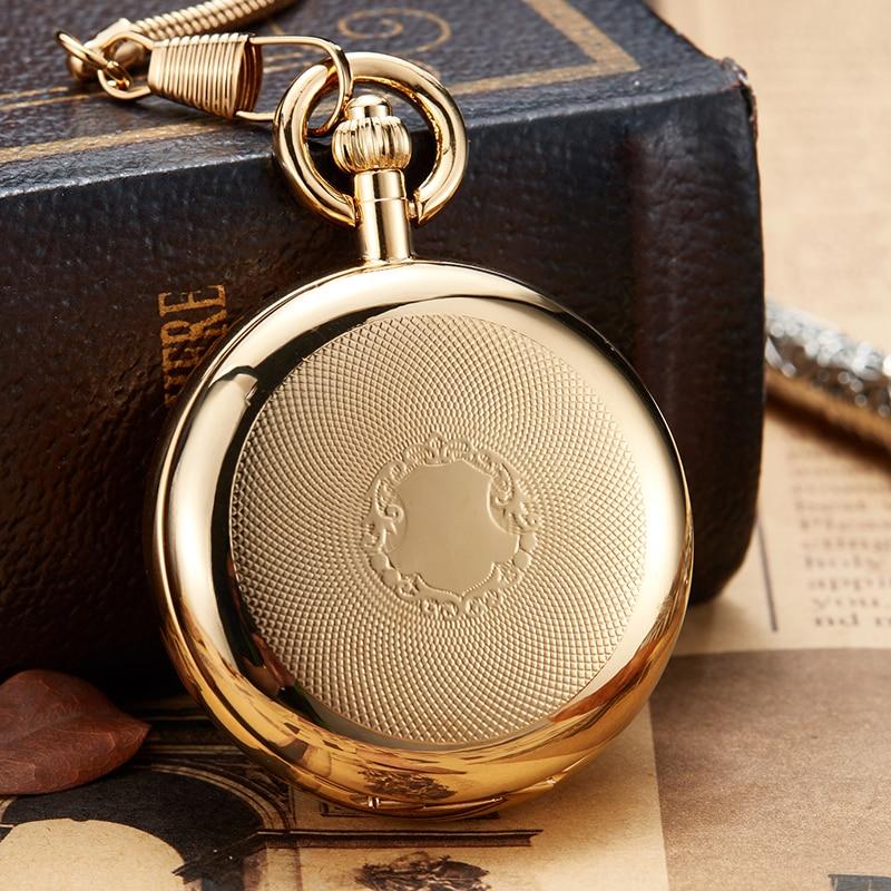 Montre de poche mécanique de luxe en cuivre doré horloge à remontage manuel montre à chaîne Fob hommes chiffres romains horloge squelette