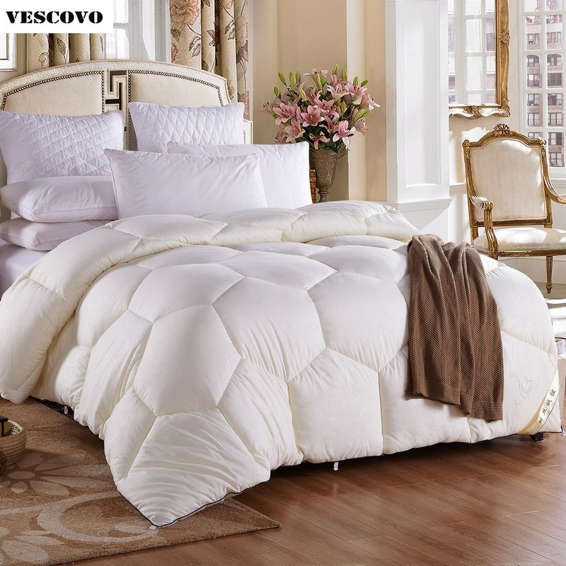 100 white goose down winter quilt comforter duvet 100 cotton cover twin full queen king size. Black Bedroom Furniture Sets. Home Design Ideas