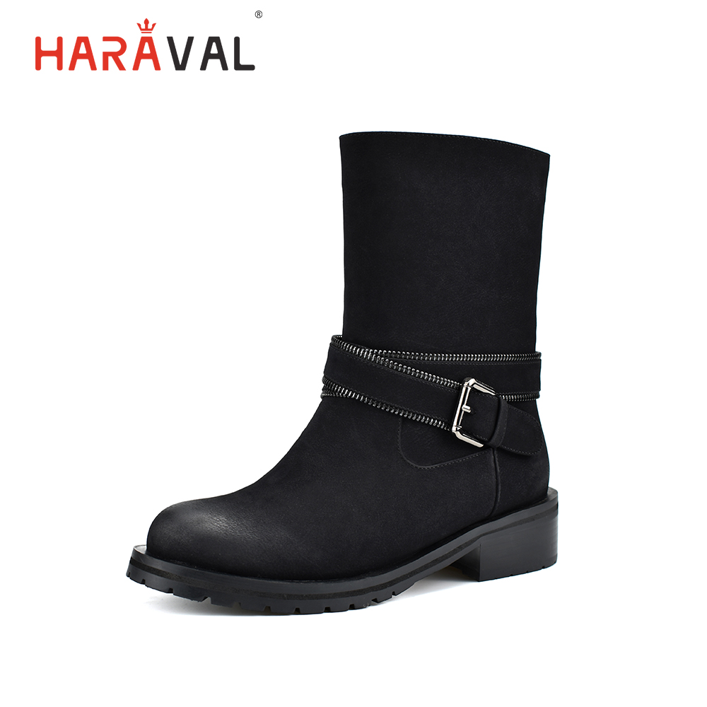 HARAVAL Handmade Warm Winter Ankle Boots Women Quality Round Toe Thick Heels Shoes Solid Black Fashion Buckle Zipper B203