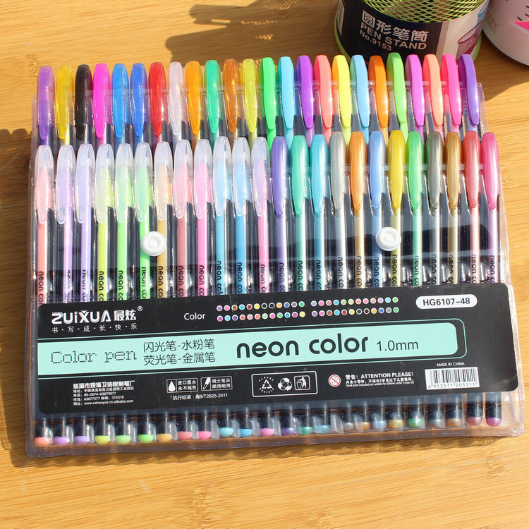 48 Colors Set Colored Gel Pen Highlighter Flash Pen Cute Glitter Color Pens Drawing School Stationary