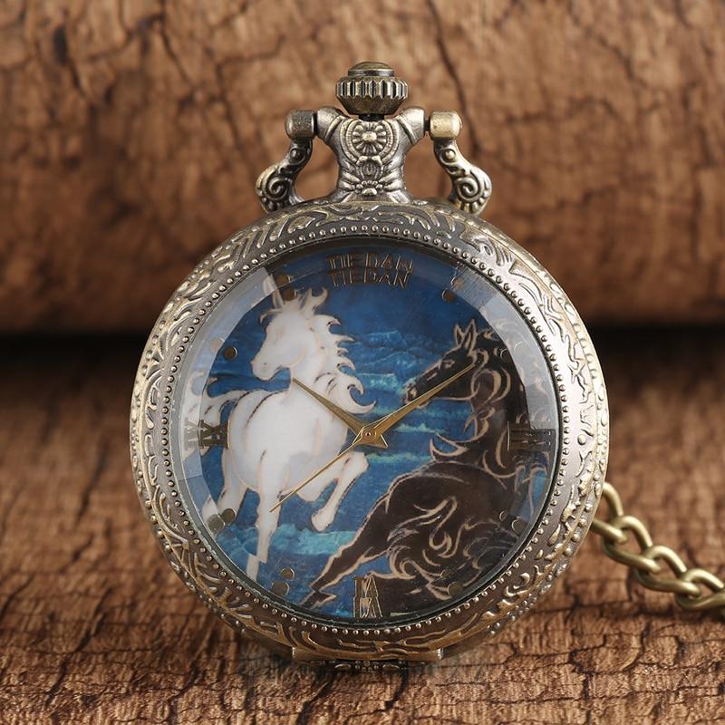 Antique Transparent Horse Pattern Pendant Bronze Tone  Chain Pocket Watch Pendant Necklace Gifts For Men Women P325C